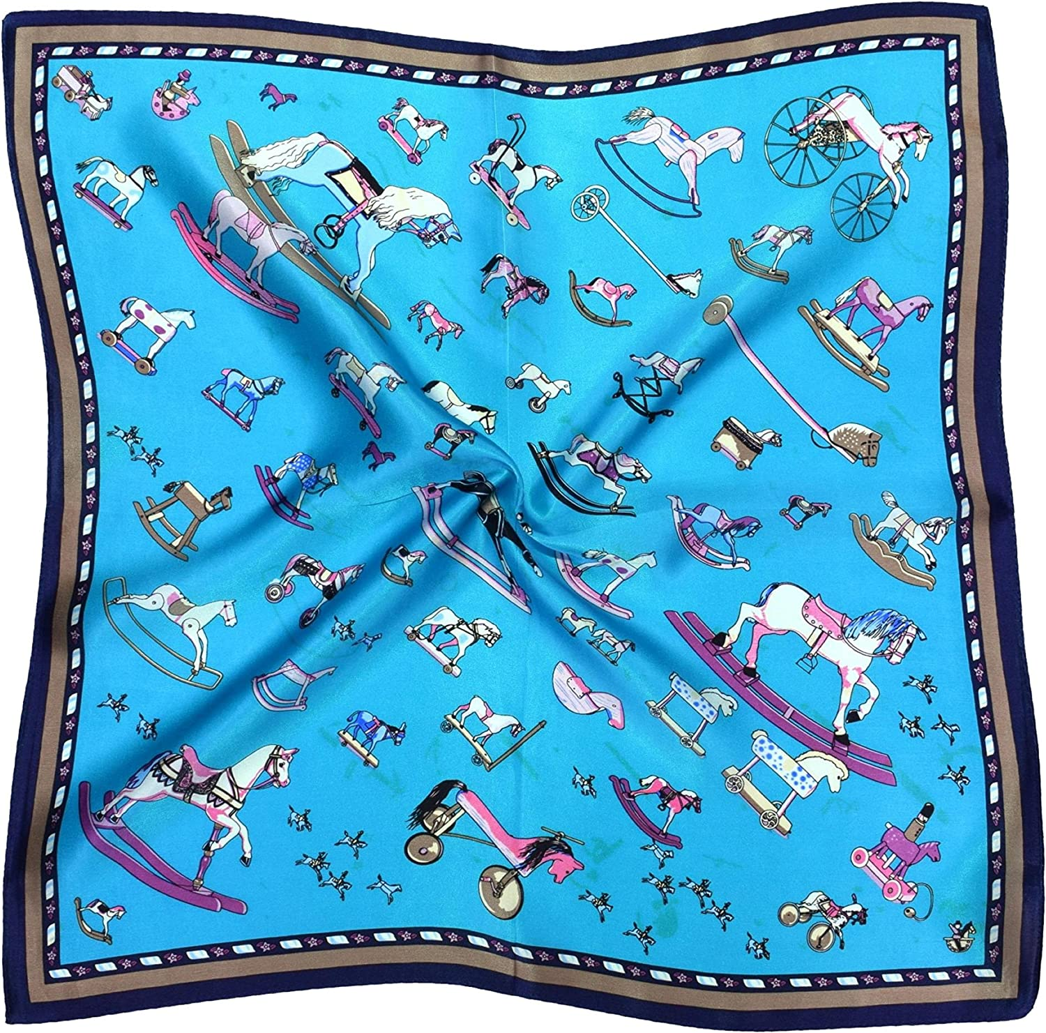 bluee Toy Horses Thick Silk Small Square Scarf