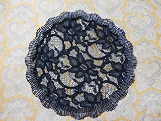 Handmade Navy Lace Doily Head Cover with Navy/Gold Metallic Pleated Trim, Hair Covering, Kippah, Yarmulke, Veil (with Decorative Bobby Pin) (Style 319) Elegant Doily Exclusive