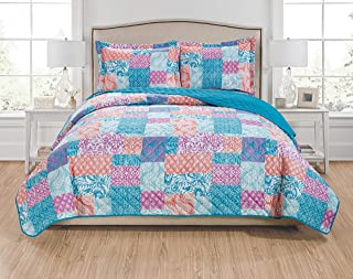 RT Designers Collection Olivia 3-Piece Reversible Quilt Set-Queen, Aqua/Coral/Fuchsia/Turquoise