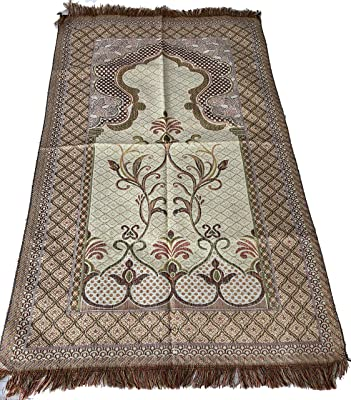Islamic Quality Goblen Silk Brocades Islamic Prayer Rug Janamaz Sajjadah Muslim Namaz Seccade Turkish Prayer Rug (Rose)