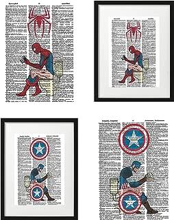 Signature Studios Superhero Wall Decor Spiderman Captain America Funny Bathroom Decor Marvel Comics Poster Set of (2) Superhero Dictionary Art Prints 8x10