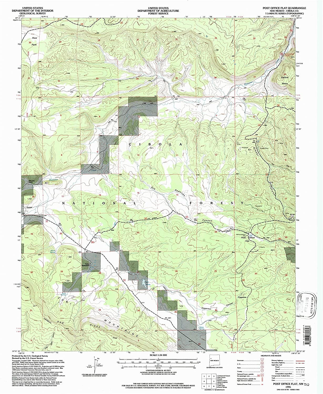 Post Office Flat NM topo map, 1 24000 Scale, 7.5 X 7.5 Minute, Historical, 1995, Updated 1997, 26.9 x 22 in