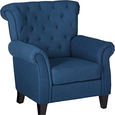 Christopher Knight Home Merritt Fabric Tufted Chair, Dark Blue