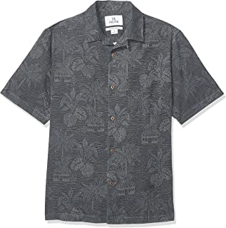 28 Palms Men's Relaxed-Fit 100% Textured Silk Tropical Leaves Jacquard Shirt