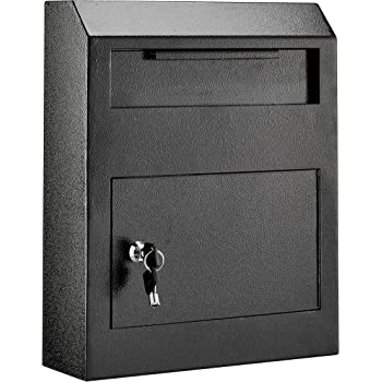 AdirOffice Heavy Duty Secured Safe Drop Box - Suggestion Box - Locking Mailbox - Key Drop Box - Wall Mounted Mail Box - Safe Lock Box - Ballot Box - Donation Box (Black)