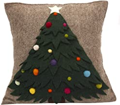 Arcadia Home Hand Felted Wool Christmas Pillow-Tree with Ornaments on Gray-20 Decorative Pillow, Multi