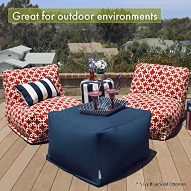 Majestic Home Goods Vertical Stripe-Black ottoman, pouf, cube, Large,