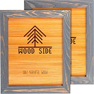 Rustic Wooden Picture Frame 8x10 - Grey - Set of 2-100% Natural Eco Solid Wood and High Definition Real Glass for Wall Mounting Photo Frames