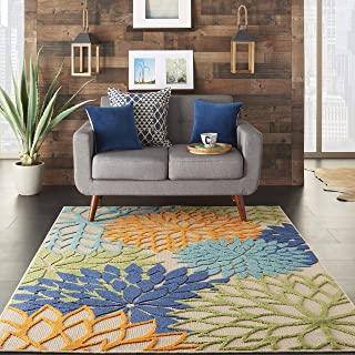 "Nourison Aloha Indoor/Outdoor Floral Blue Multicolor 5'3"" x 7'5"" Area Rug (5'x8')"