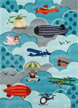 Momeni Rugs Lil' Mo Whimsy Collection, Kids Themed Hand Carved & Tufted Area Rug, 5' x 7', Sky Blue