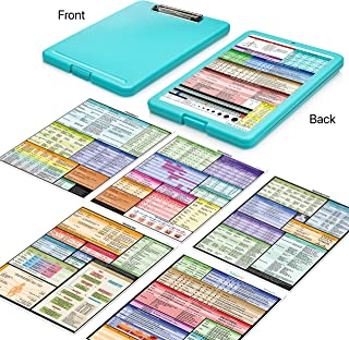 ClinicalGuru Set by Tribe RN - Nursing Clipboard with Storage and Heavy Duty Cheat Sheets - Perfect Combo for Your Clinical Rounds - Also Includes Downloadable Cheat Sheets (Nurse Clipboard Mint)