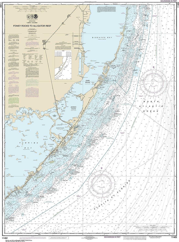 NOAA Chart 11462 Fowey Rocks to Alligator Reef  46.5  X 34.2  Laminated Map