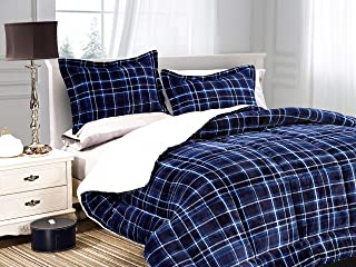 Elegant Comfort Softest, Coziest Heavy Weight Plaid Pattern Micromink Sherpa-Backing Premium Quality Down Down Alternative Micro-Suede 3-Piece Reversible Comforter Set, Full/Queen, Navy Blue