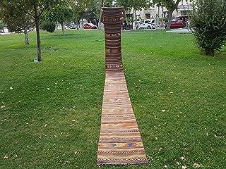 Handmade Turkish Kilim Runner, Tribal Stair Carpet Vintage Farmhouse Decor, Extra Long Modern Striped Hallway Runner 1.8 x 19.2 Ft (56 x 585 Cm)