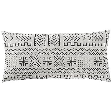 Amazon Brand – Rivet Mudcloth-Inspired Decorative Throw Pillow, 12  x 24 , Pale Grey