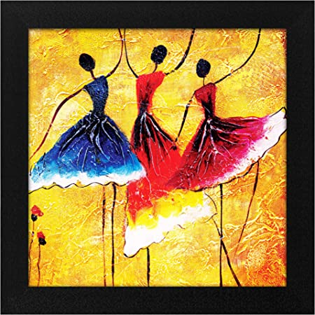 Story@Home Synthetic Wood Framed Beautiful Design 'Dancing Women' Modern Wall Art Painting for Decorating Living Room, Bedroom, Drawing Room, Hall Ready to Hang (30 cm x 3 cm x 30 cm)