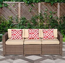 Patiorama 3-Seat Outdoor Furniture Wicker Sofa Couch Patio Furniture w/Steel Frame and Removable Cushions - Brown