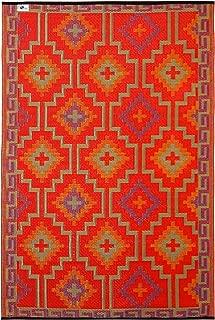Fab Habitat Lhasa Indoor/Outdoor Rug, Orange & Violet, (3' x 5')