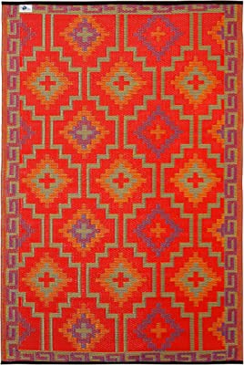 Fab Habitat Reversible Rugs | Indoor or Outdoor Use | Stain Resistant, Easy to Clean Weather Resistant Floor Mats | Lhasa - Orange & Violet (6' x 9')