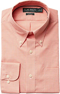 LAUREN Ralph Lauren - Classic Fit Non Iron Gingham Plaid Button Down Collar Dress Shirt