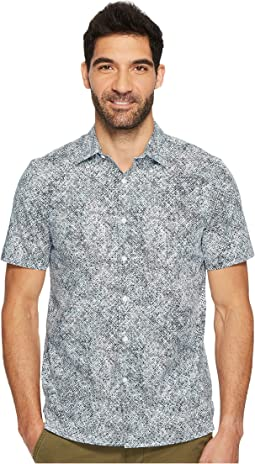 Perry Ellis - Short Sleeve Slim Fit Spackle Print Button Down Shirt
