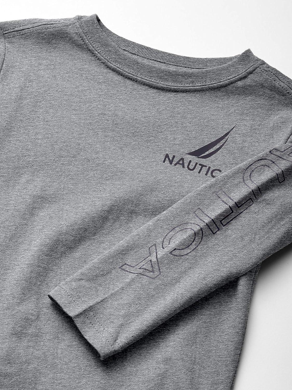Nautica Boys Big Long Sleeve Arm Logo Crew Neck Tee