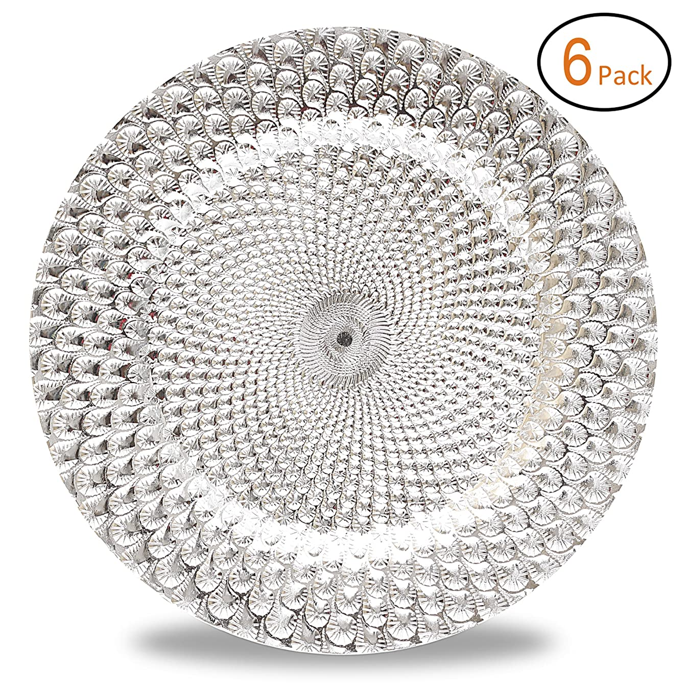 Fantastic:) Round 13Inch Plastic Charger Plates with Eletroplating Finish (6, Peacock Pattern Silver)