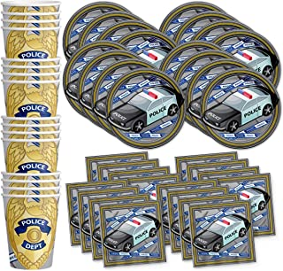Police Department Cop Birthday Party Supplies Set Plates Napkins Cups Tableware Kit for 16 by Birthday Galore