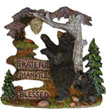 Black Bear Decorations for Home - Wall Signs for Home Decor Family - Decorative Bear Wall Plaque Wildlife Gift Ideas - Bear Wall Hanging Lodge Decorations for Home - Grateful Thankful Blessed 7.87