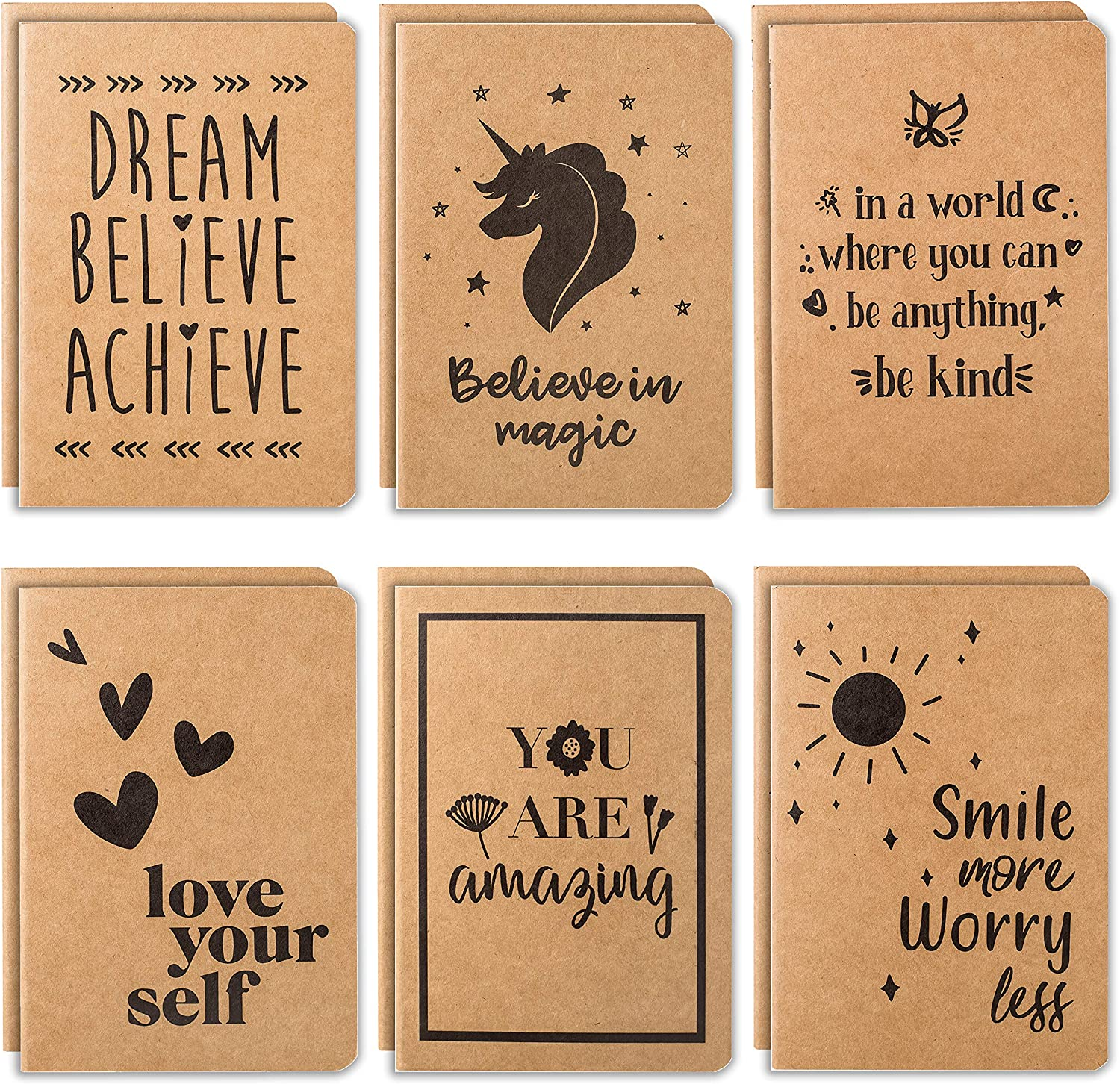 Cute Factory outlet Small Notebooks - 12 Notebook Pack Lined Genuine Kraft