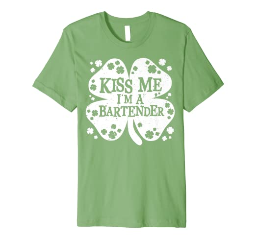 73b260da8f Image Unavailable. Image not available for. Color: Kiss Me I'm A Bartender  T Shirt St Patricks Day ...
