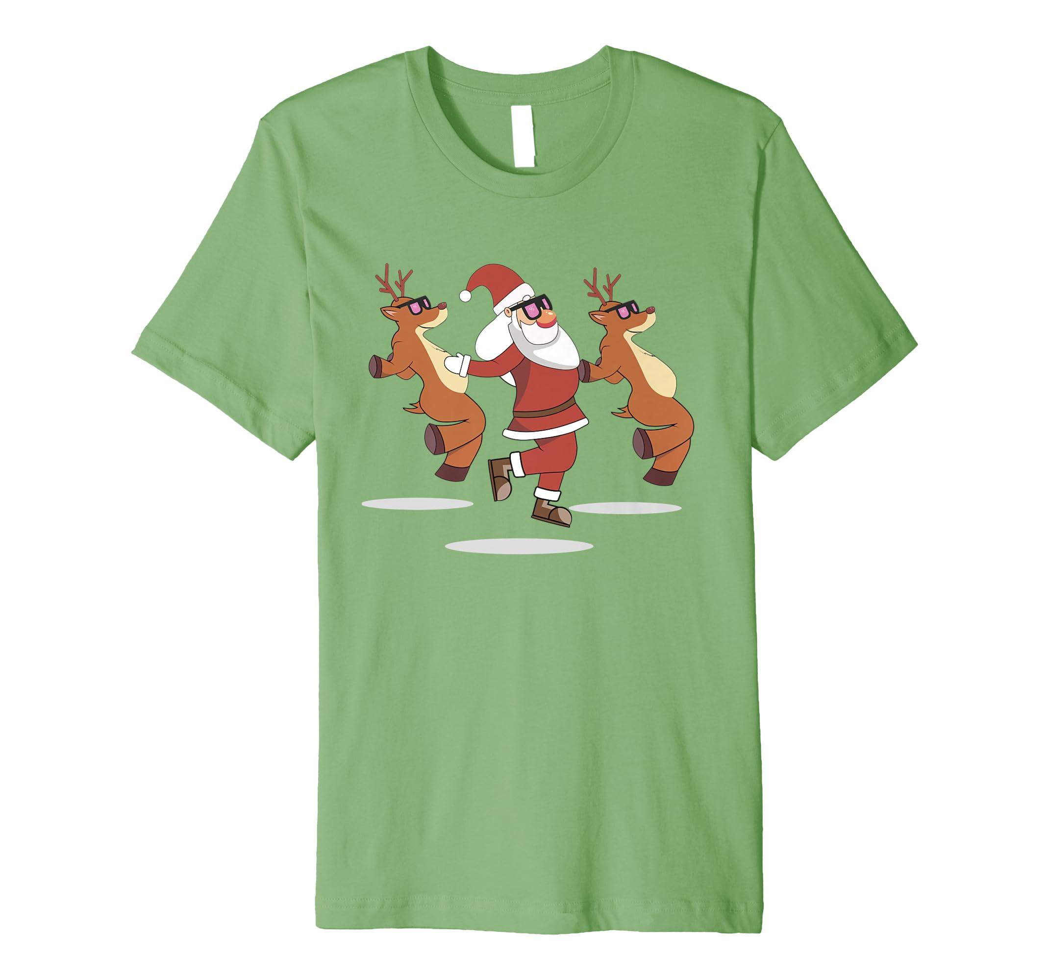 Christmas Santa Claus Reindeer Shoot Dance T Shirt-azvn