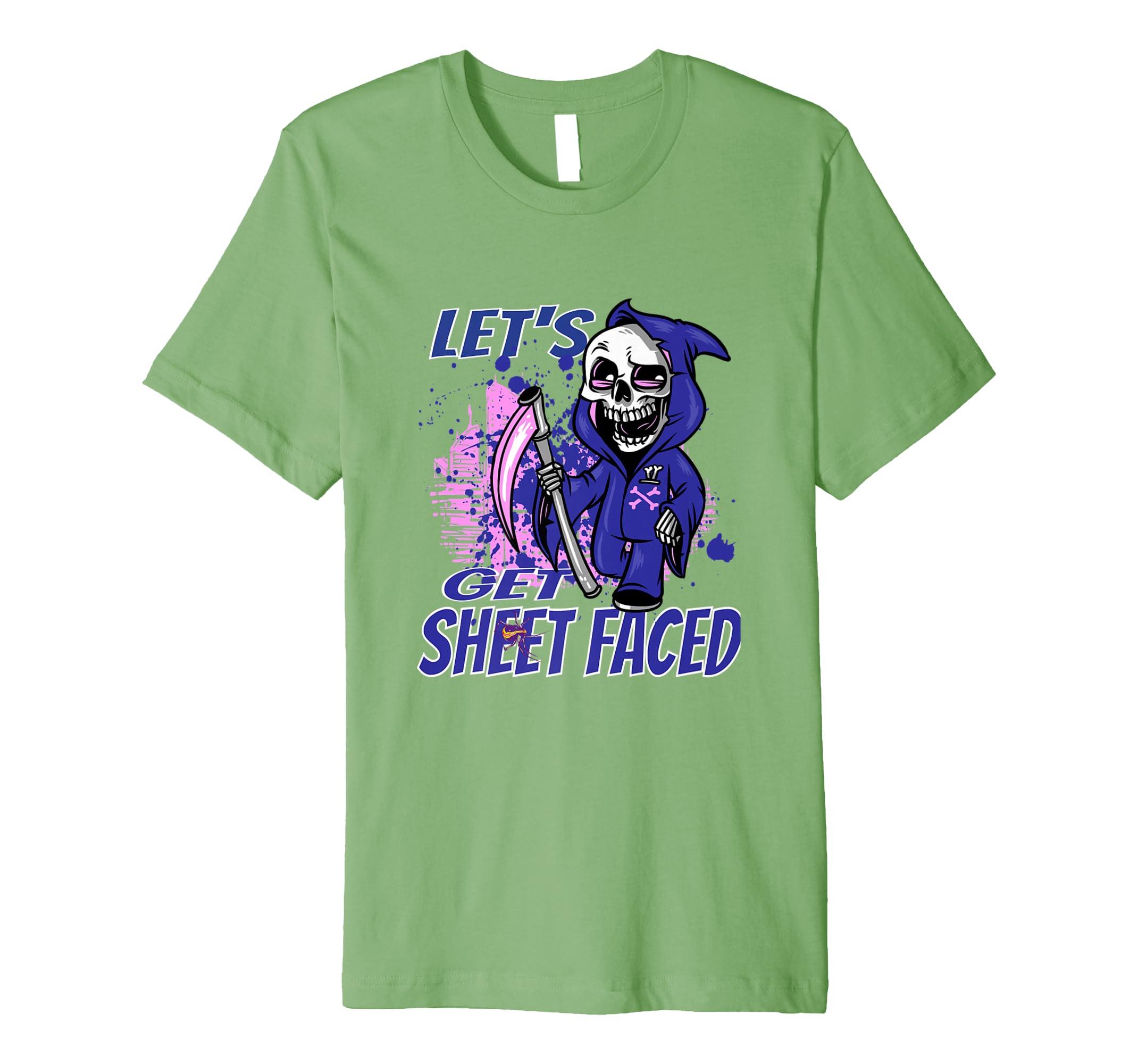 Let's Get Sheet Faced Skeleton Halloween Costume T-Shirt-SFL