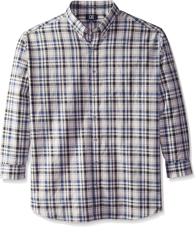 Cutter & Buck Men's Big-Tall Long Sleeve Roy Plaid Woven Shirt