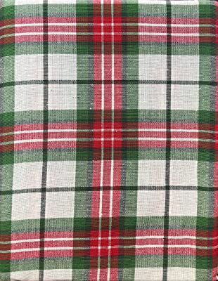 Ridgefield Home Fabric Cotton Christmas Holiday Scottish Plaid Tartan Pattern Tablecloth Set 10 Napkins Shades Red