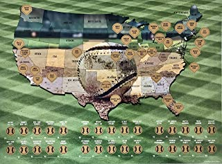 Scratch-Off Baseball Poster, Sports, Maps, Collectors, Travel Stadium, United States, Bucket List Poster
