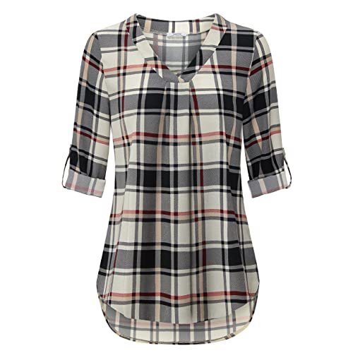 5b73b034342 Youtalia Womens 3/4 Cuffed Sleeve Chiffon Printed V Neck Casual Blouse  Shirt Tops