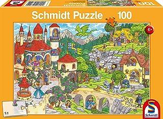 Schmidt Spiele- Puzzle Infantil (100 Piezas), diseño de Paisaje de los Hadas, Color carbón (56311)