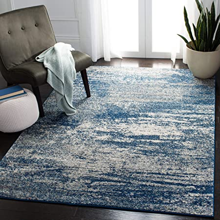 Amazon Com Safavieh Evoke Collection Evk272a Modern Abstract Area Rug 4 X 6 Navy Ivory Furniture Decor