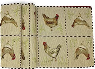 Tache Home Fashion Country Farmhouse Rooster Hens Antique Vintage Traditional Home Decorative Woven Tapestry Table Runners, 13x72