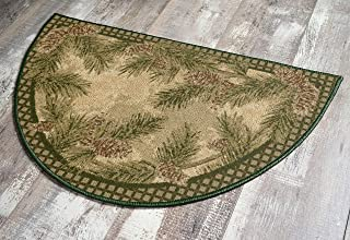 """Brumlow Mills Pine Cone Rustic Fall Winter Gingham Cabin Home Decor Low Pile Accent Rug, 19""""x32"""", Green"""