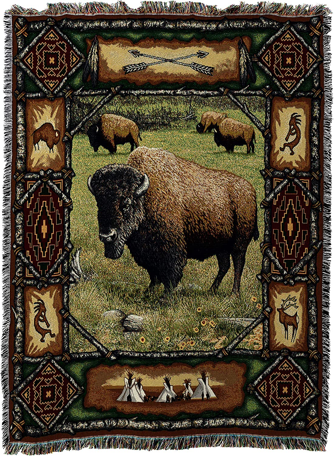 Pure Country Weavers   Buffalo Lodge Cabin Hunting Decor Woven Tapestry Throw Blanket with Fringe Cotton USA 72x54