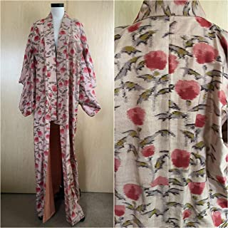Vintage Raw Silk Kimono, Abstract Floral Japanese Robe, 40s Women's Dressing Gown w/Cherry Blossom Print