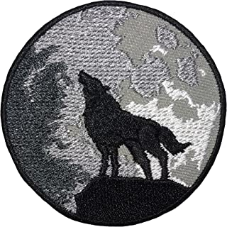 Papapatch Lone Wolf Full Moon Howling Sew on Iron on Embroidered Applique Badge Sign Patch (IRON-WOLF-HOWLING)