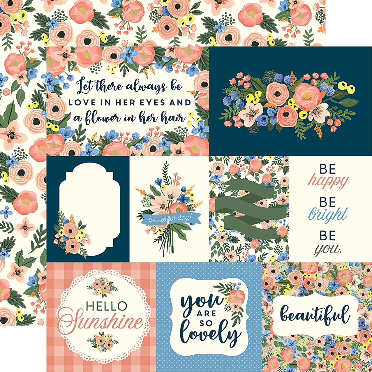 Echo Park Paper Primrose Journaling Cards/Pink Flowers Flora No. 2 Double-Sided Cardstock 12