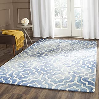 Safavieh Dip Dye Collection DDY538K Handmade Geometric Moroccan Watercolor Blue and Ivory Wool Area Rug (5' x 8')