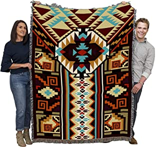 Pure Country Weavers Large Southwest Blanket 100% Cotton Woven Large Soft Comforting, Iconic Fringe Design, Native American Inspired Pattern, Tribal Camp Throw Made in USA (72x54)