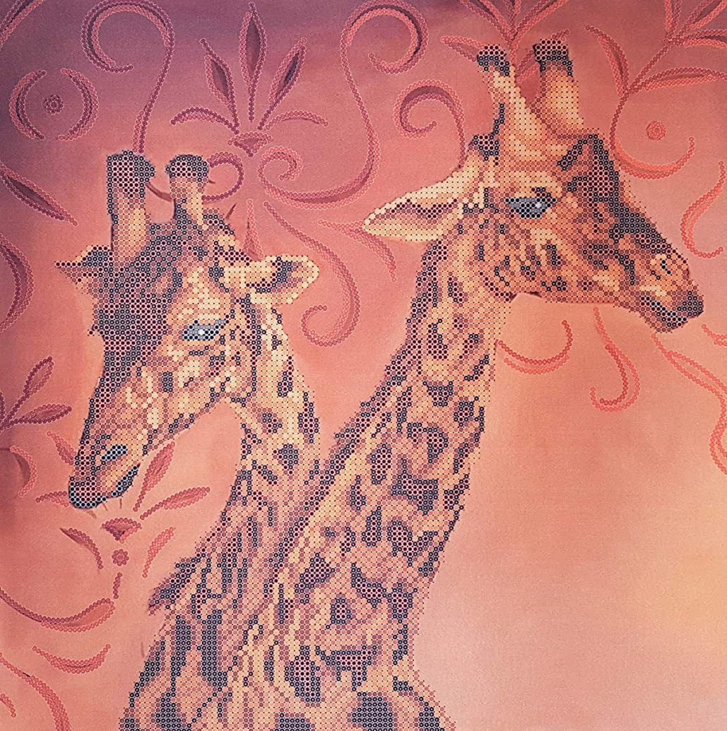 Giraffes Bead Embroidery Kits, beadstitch, African Animal Needlepoint kit, Wildlife Beading Set, Nature Handcraft kit, Bordado de cuentas