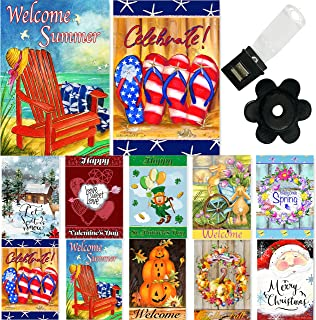 Seasonal Garden Flag Set of 10 12x18 Inch Double Sided Yard Flag Pack with Anti-Wind Clip and Stopper Outdoor Decorative H...