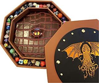 Fantasydice Cthulhu Eye Extra Large Dice Tray Octagon with Lid and Dice Staging Area- Holds 7 Sets( 7 Dice Set/ Standard) ...